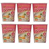 Instant Rice Porridge Cup Pork 45g. (Pack of 6 Cups) - Mama