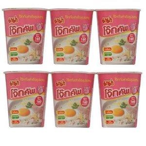 Instant Rice Porridge Cup Pork 45g. (Pack of 6 Cups) - Mama
