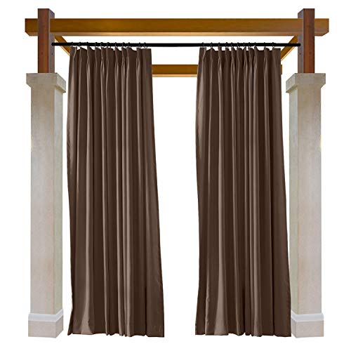 Macochico Chocolate Outdoor Indoor Watre Resistant Curtains for Library Hotel Classroom Kids Room Thermal Insulated Light Proof Anti-Noise Home Decoration Pinch Pleat Drape 84W x 102L (1 Panel) by Macochico (Image #8)