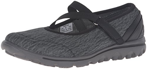 Propet Women's Travelactiv Mary Jane Oxford, Black/Grey Heather, 9 W US W5103