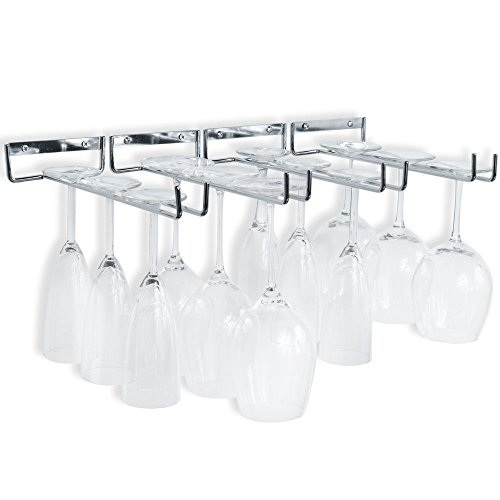 (Wallniture Wall Mounted Stemware Wine Glass Rack Hanger Storage Chrome Finish Set of 4)