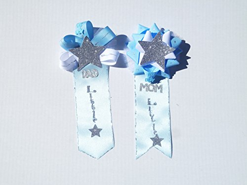 - Twinkle Twinkle Little Star Boy A Star Is Born Baby Shower Corsage For Mom and Dad (Blue White Silver-Tie&BookMrkStyle)