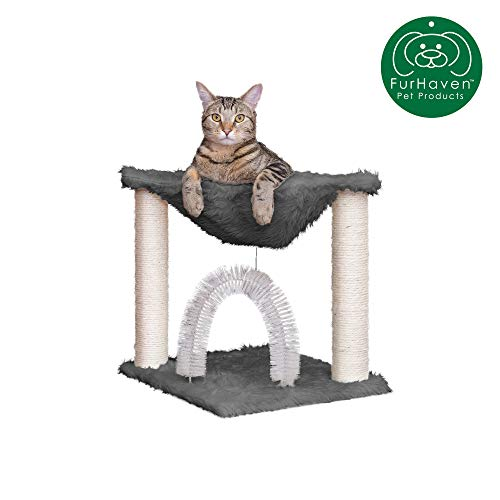 Furhaven Pet Cat Furniture | Tiger Tough Plush Cat Tree Hammock Self-Grooming Entertainment Playground, Silver, One Size (Cat Condos Hammock)