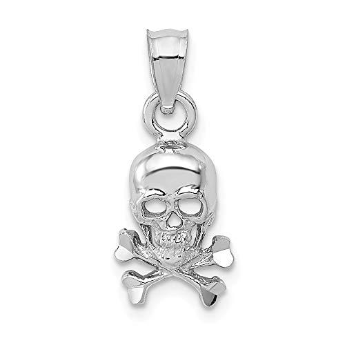 14K White Gold Skull Cross Bones Pendant Solid Pendants & Charms Jewelry