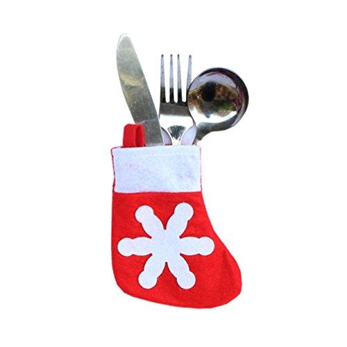 Keepfit 10PCS Christmas Caps Cutlery Holder Fork Spoon Pocket Xmas Decor Bag