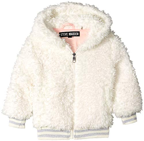 Steve Madden Girls' Toddler Fashion Faux Fur Jacket with Sparkle Rib Knit, Cream 2T