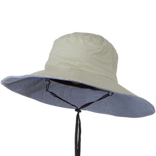 UPF 50+ Wide Brim Talson Bucket Hat - Khaki (Wired Nylon Hat)