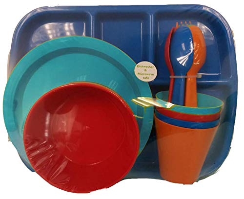 - 24 pc Kids Dinner Set by Mainstays, BPA free, Microwave/dishwasher safe, toddler snack/meals, mixed colors