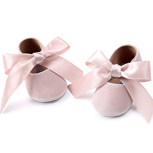 Baby Girls Mary Jane Flats Anti-Slip Rubber Sole Bow Toddler Princess Dress Shoes (4.72 inches (6-12 Months), Y-Beige) -