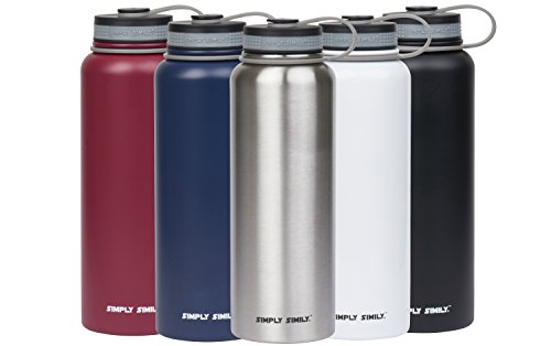 Simply Simily Stainless Steel Water Bottle - Wide Mouth - BPA Free - Double Walled Vacuum Insulated, 40 Oz - Red