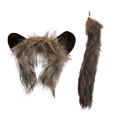 [Life-like Aye-Aye Lemur Ears Headband and Tail Set for Zoo Animal Party and Lemur Costume Cosplay] (Halloween Tree Costume)