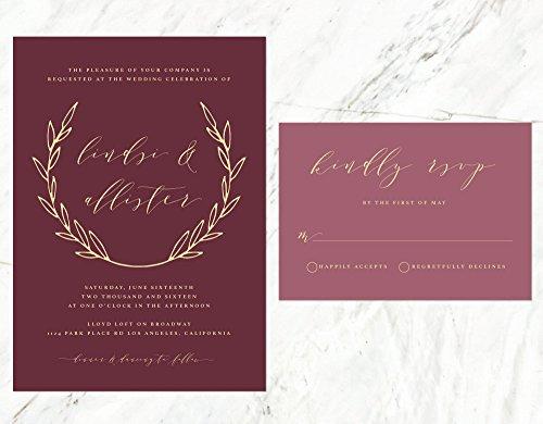 Marsala Wedding Invitation, Elegant Bohemian Wedding Invitation, Burgundy Wedding Invitation by Alexa Nelson Prints