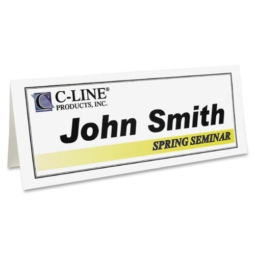 C-Line 87517 Printer-Ready Name Tent Cards, 11 x 4 1/4, White Cardstock, 50 Letter Sheets/Box by C-Line