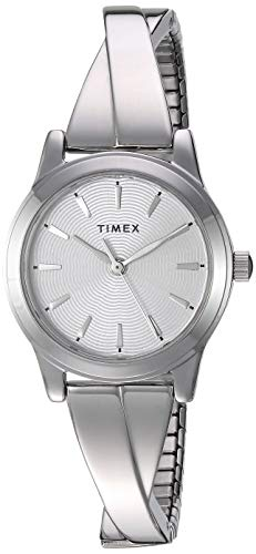 (Timex Women's TW2R98700 Stretch Bangle Crisscross 25mm Silver-Tone Expansion Band Watch)