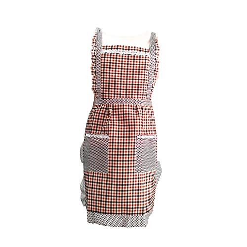 (Harshida Durable Breathable Kitchen Aprons of Woman Brown Plaid Apron with 2 Pockets (Brown)-Gift Apron)