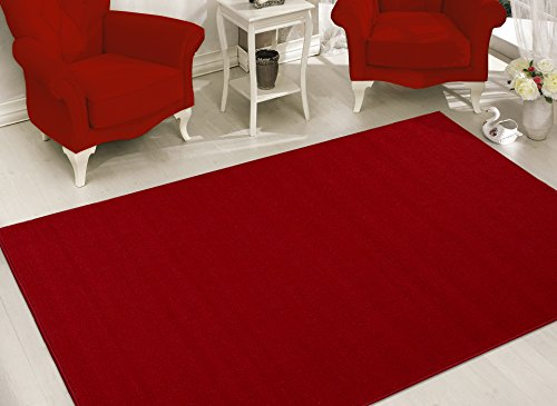 Sweet Home Stores Clifton Collection Solid Design Rubberback Area Rug, Red by Sweet Home Stores