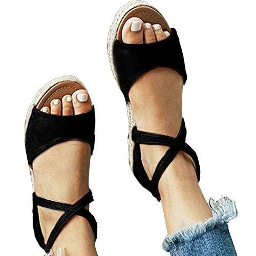 Athlefit Womens Platform Sandals Flat Strap Espadrille Sandals Criss Cross Size 9 Black