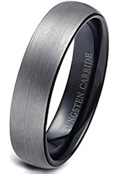 Tungary Tungsten Rings for Men Wedding Engagement Band Brushed Black 6mm Size 6-14