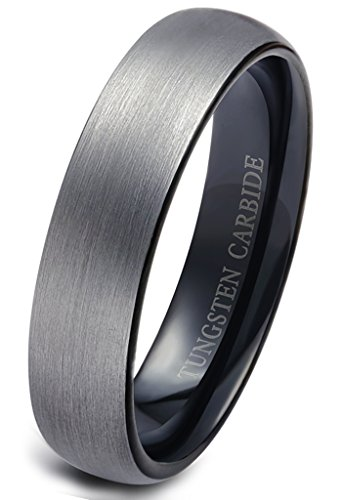 Jstyle Jewelry Tungsten Rings for Men Wedding Engagement Band Brushed Black 6mm Size 10