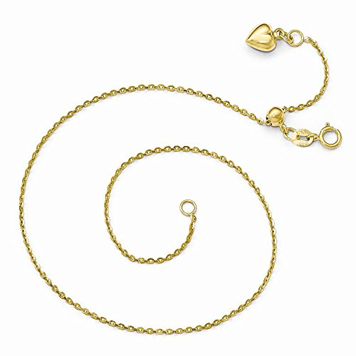 Leslie's 14k Yellow Gold Polished Dangle Heart Adjustable Anklet 11 Inches by Leslies