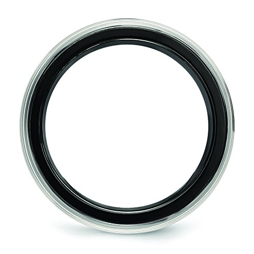 Edward Mirell Black Ti /& Titanium Polished Grooved Ring