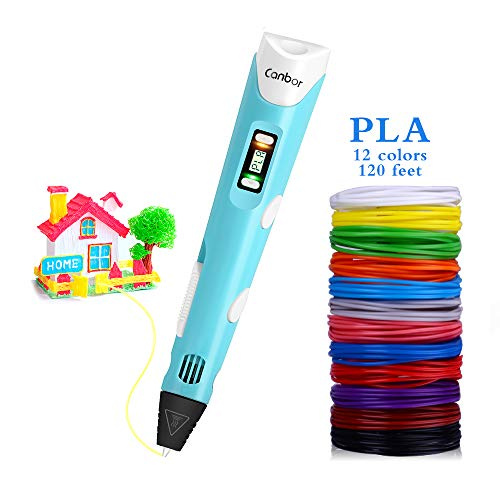- Canbor 3D Pen with PLA Filament Refills, 3D Printing Drawing Printer Pen for Kids and Adults, Compatible with PLA ABS Filament, 12 Colors 120 Feet PLA Filaments Included, Light Blue