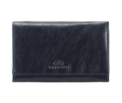 WITTCHEN portafoglio, Blu Marino, Dimensione: 10x15 cm - Materiale: Pelle di grano - 21-1-081-N