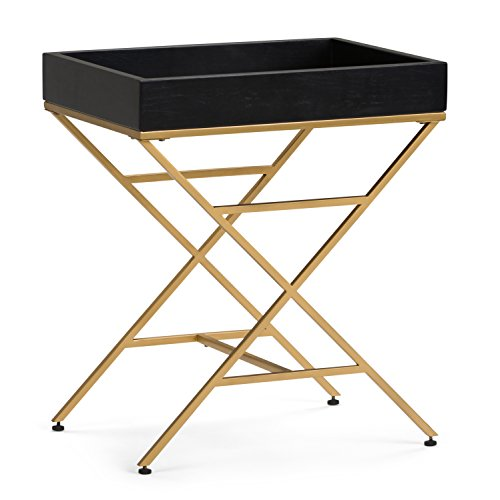 Simpli Home AXCMTBL-20 Moira Contemporary 20 inch Wide Metal and Wood Accent Side Table in Matte Black, Gold -