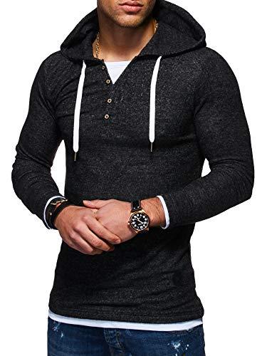 (Behype Men's Sweater Jumper Hoodie Sweatshirt Pullover Longsleeve Henley MT-7437)