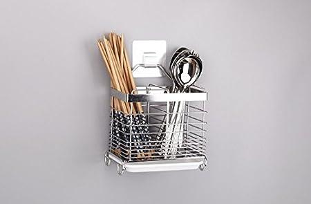 304 Acero inoxidable para colgar utensilios de malla 2 compartimentos  palillos  cuchara  tenedor  cuchillo  rack de secado escurridor ... 1ab97aafc528