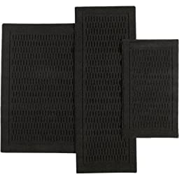 Mainstays 7033 Dylan Nylon 3-Piece Accent Rug Set (Rich Black)