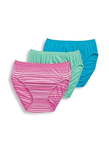Jockey Women's Underwear Comfies Microfiber French Cut - 3 Pack, Caribbean Waters/Moonlight Jade/Happy Pink Milano, 6