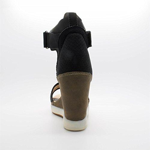 Compensé Chaussures Londres Londres Talon Sandales Noires Femmes Chaussures Kendall E6FqwT6C