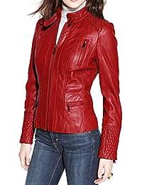 Alishbah Women's Leather Jacket Stylish Motorcycle Biker Genuine Lambskin WJ 331