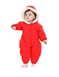 Baby Girl Infant Snowsuit with Hood Pink and Red