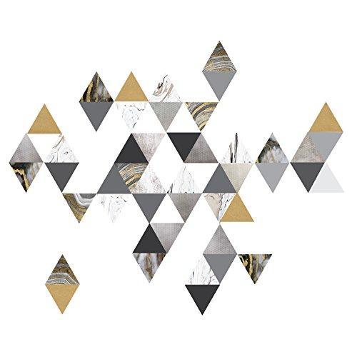 Modern Art Wall Decals, Gold, Gray, Marble, Triangles, Geometric Decals, Repositionable, Fabric Wall Decals Plus 6 Bonus Metallic Gold Triangle Vinyl Decals by Wall Dressed Up (Image #9)