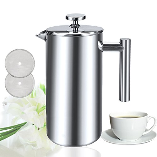 Sailnovo 8 Cups French Coffee Press Coffee Tea Maker Brewer Filter Pot Plunger, 34 Oz/1000ml Double Walled Insulated Stainless Steel Cafetiere with triple filter extraction