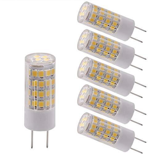 LED G8 Light Bulb Warm White 3000k T4 G8 Base Bi-pin Xenon JCD Type LED 120V 50W Halogen Replacement Bulb for Under Counter Kitchen Lighting, Under-Cabinet Light, Puck Light (Pack-5) ()