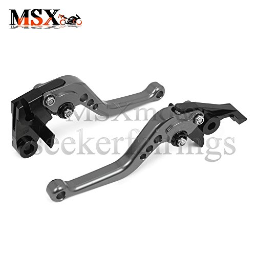 MSXmoto Pivot Brake Clutch Levers Adjustable Brake and Clutch Levers for KAWASAKI ZX6R ZX636R ZX6RR 00-04 ZX10R 2004-2005 Z1000 03-06 VERSYS 1000 2012-2014 ZX12R 00-05 ZZR600 05-09 ZX9R 00-03 grey