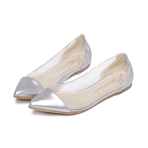 Printemps Carrière orteil et Pointu plat 36 automne chaussures été superficielle mxx bouche SILVER Talon Décontracté LvYuan Bureau Femmes charmant amp; Robe Doux E7wz0