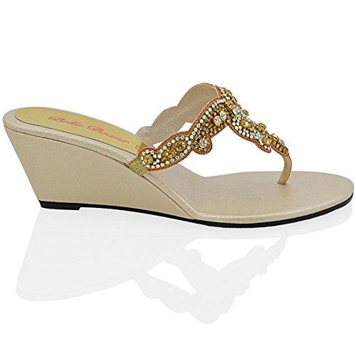 Essex Glam Donna Slip On Toe Post Scintillante Diamante Sandali Con Tacco Cunei Dressy Sintetici Oro