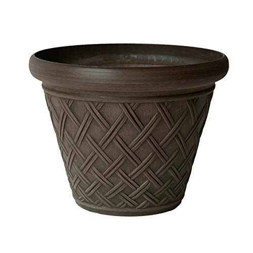 Chocolate Arcadia - Arcadia PSW MB46C Basket Weave Planter, 18 by 14-Inch, Chocolate