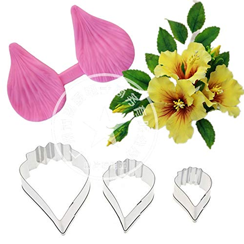Gumpaste Hibiscus Petal Silicone Veiner & Cutter Flower Cutter Fondant Sugarcraft Stainless Steel Cutter Cake Decorating Moulds]()