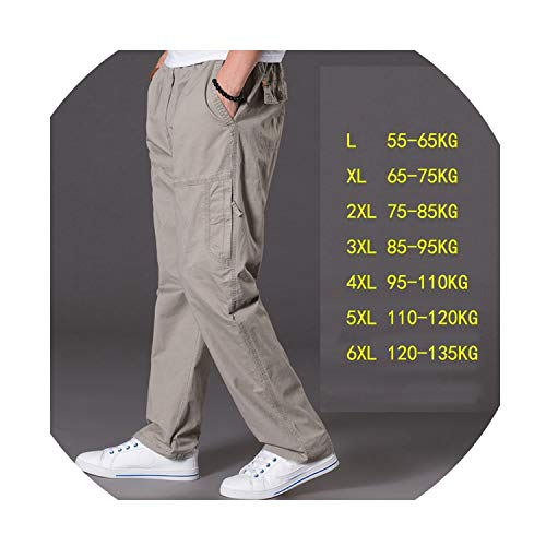 - fantasticlife06 Spring and Summer Thin Section Casual Pants Men Plus Size Multi-Pocket Men's Trousers Oversize Pants Overalls Men's Elastic,Gray,XXXL