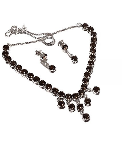 Neerupam Collection Marvelous Brown smoky Diamond Look Rhodium Plated Sterling Silver Earring & Necklace Set for (Diamond Smoky Ring)