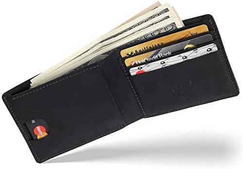Bos Gaurus Classic Minimalist Wallet - Top Quality Genuine Leather, Capacious and Practical for Cards and Cash
