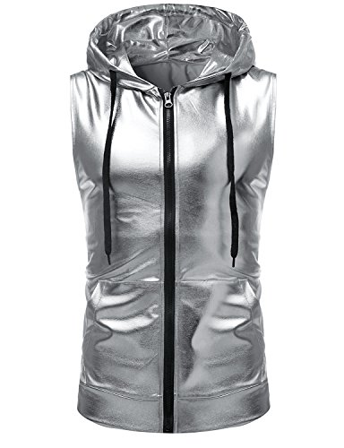 ZEROYAA Mens Hipster Metallic Zip Up Sleeveless Hooded Vest T Shirt with Kangaroo Pocket Z86 Silver X-Large