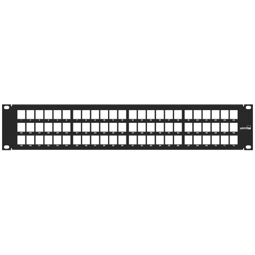 Leviton 49255-D72 QuickPort Patch Panel, 72-Port, 2RU, Cable Management Bar Included by Leviton