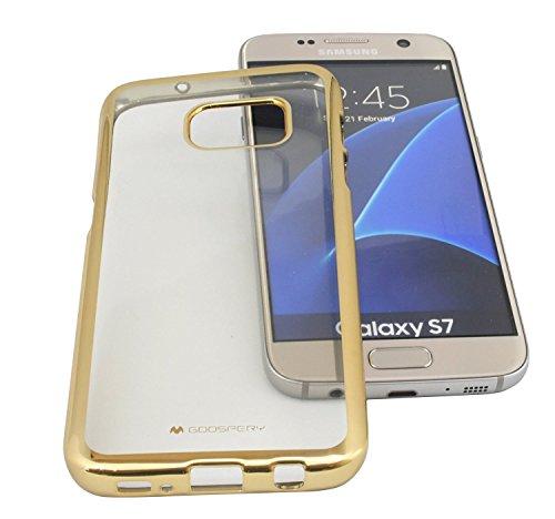 TPU SchutzHülle für Iphone 8 PLUS Silikon Hülle Etui Case Cover Silikontasche in Transparent mit GOLD-Umrandung Silikonschale Tasche Bumper Zubehör @ Energmix