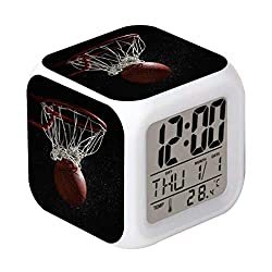 Cointone Led Alarm Clock Sport Basketball Design Creative Desk Table Clock Glowing Electronic Colorful Digital Alarm Clock for Unisex Adults Kids Toy Birthday Present